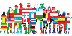 silhouettes of people filled with flags